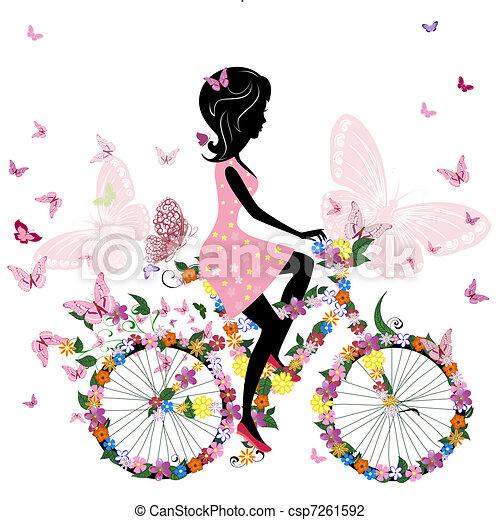 papillons, vélo, romantique, girl - csp7261592