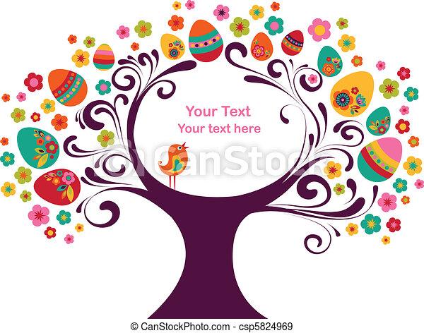 paques, cadre, arbre - csp5824969
