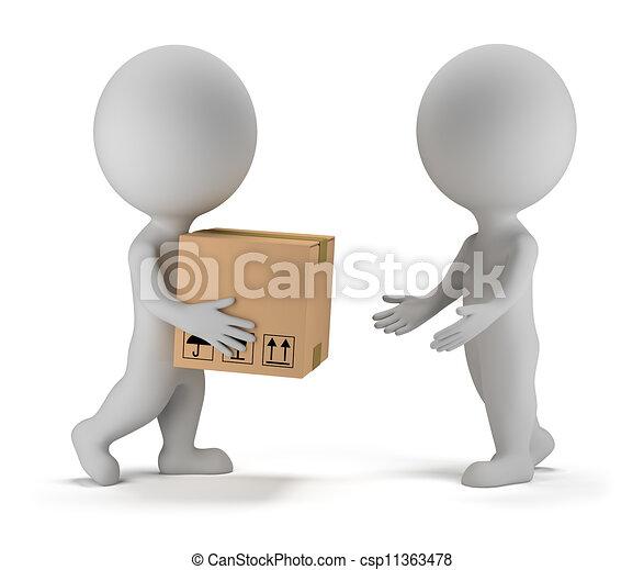paquet, gens, -, livraison, petit, 3d - csp11363478