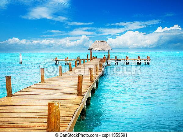 paradise., tropique, mujeres, vacances, jetée, mexique, isla - csp11353591