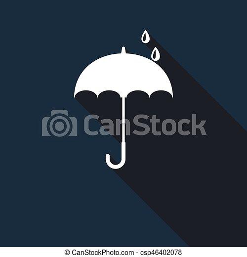 parapluie, shadow., long, icône - csp46402078