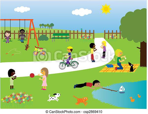 parc, jouer, enfants - csp2869410