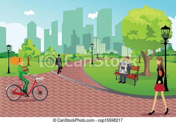 parc ville, gens - csp15598217