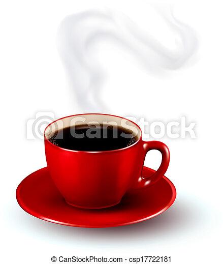 parfait, steam., café, illustration., tasse, vecteur, conception, template., rouges - csp17722181