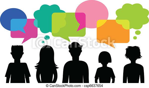parole, bulles, silhouette, jeunes - csp6637654
