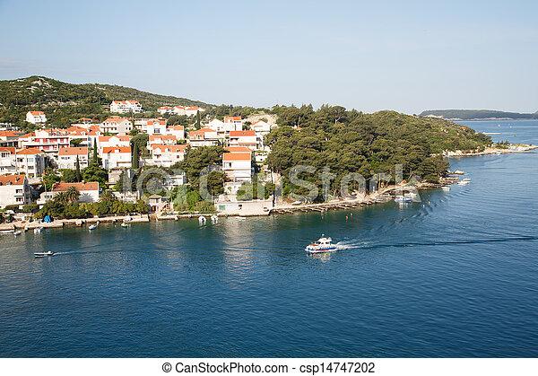 passé, maisons, croatie, bateau, pilote - csp14747202