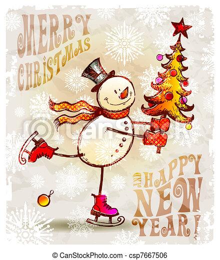 patinage, bonhomme de neige, arbre, -, illustration, main, vecteur, dessiné, noël, heureux - csp7667506