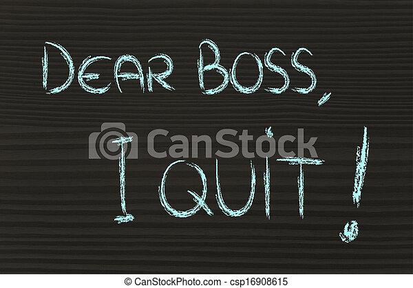 patron, malheureux, quit:, employé, cher, message - csp16908615