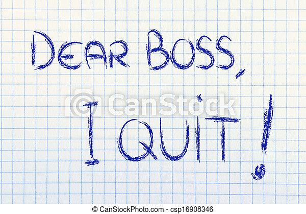 patron, malheureux, quit:, employé, cher, message - csp16908346