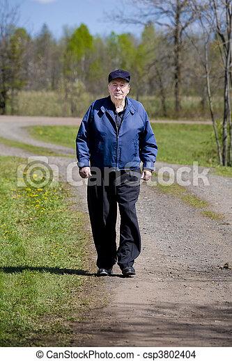 pays, marche, route, homme âgé - csp3802404
