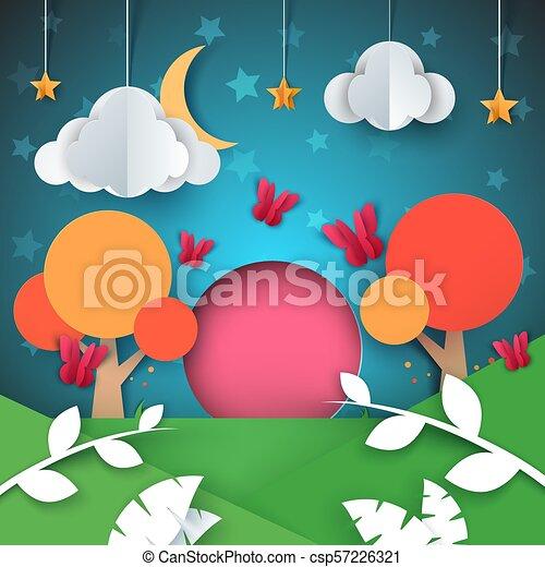paysage., illustration., lune, étoile, arbre, papier, nuage, dessin animé - csp57226321