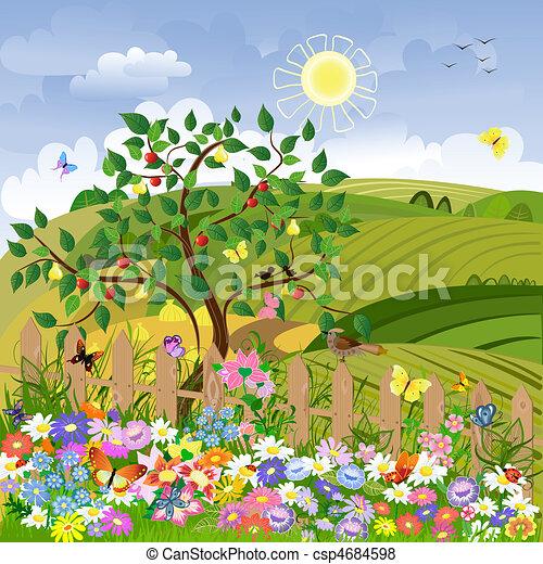 paysage rural, arbres fruitiers, barrière - csp4684598