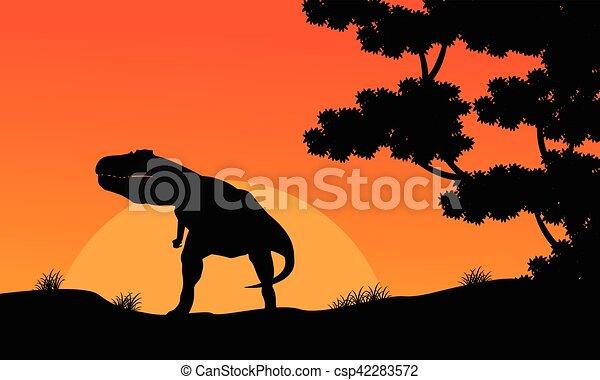 paysage, tyrannosaurus, silhouette, coucher soleil - csp42283572
