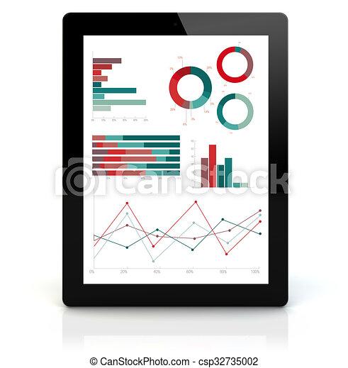 pc, financier, tablette, graphiques - csp32735002
