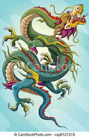 peinture, dragon chinois - csp8121519