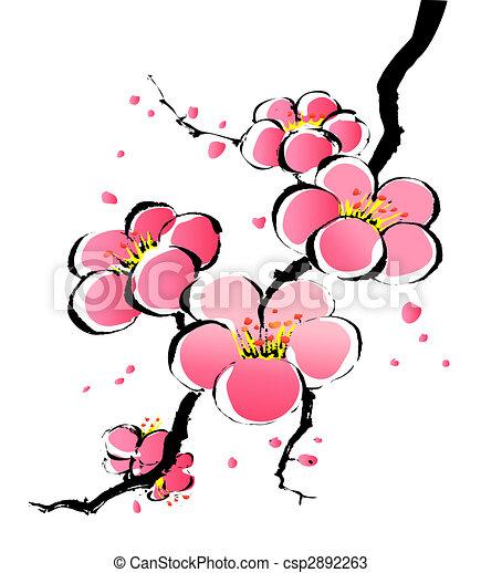 peinture, sakura, chinois - csp2892263