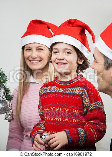 pendant, chapeaux, santa, noël famille - csp16901972