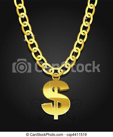 pendre, dollar, chaîne, signe - csp4411519