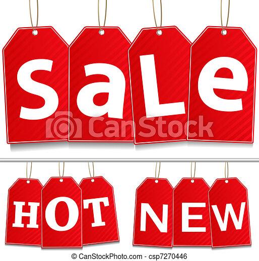 pendre, vecteur, vente, étiquettes - csp7270446
