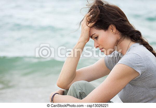 pensée, femme, désordre, profond, triste - csp13026221