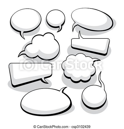 pensée, parole, bulles, (vector) - csp3102439
