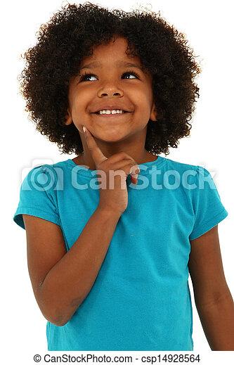 pensée, sur, noir, white., enfant, girl, adorable, sourire, geste - csp14928564