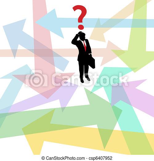 perdu, business, question, décision, flèches, confondu, homme - csp6407952