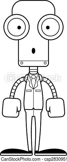 personne affaires, dessin animé, surpris, robot - csp28309516