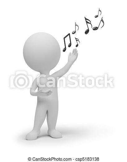 petit, chanteur, 3d, -, gens - csp5183138