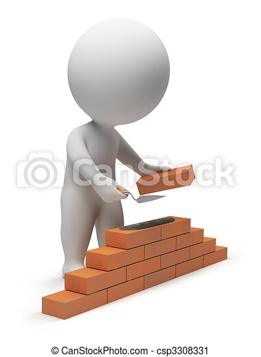 petit, constructeur, 3d, -, gens - csp3308331