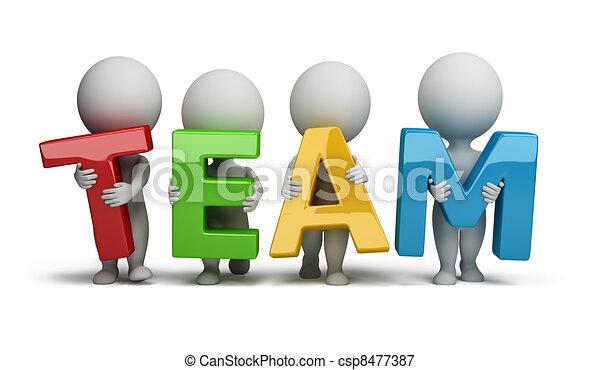 petit, gens, -, 3d, équipe - csp8477387