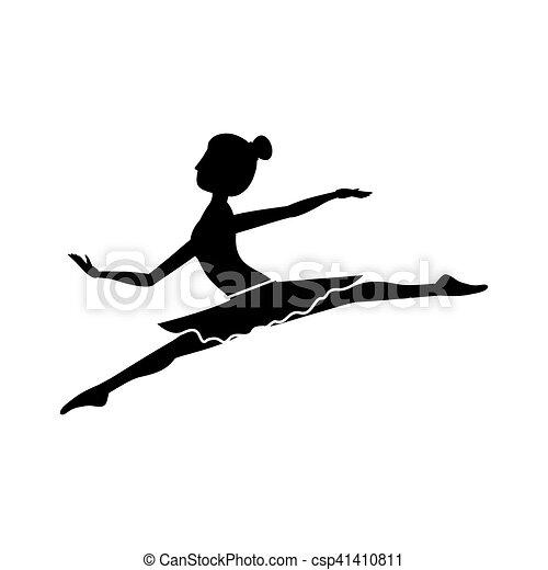 petit, lances, danseur, silhouette, position - csp41410811
