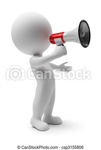 petit, porte voix, -, 3d, gens - csp3155806