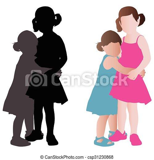 peu, étreindre, adorable, filles, deux - csp31230868