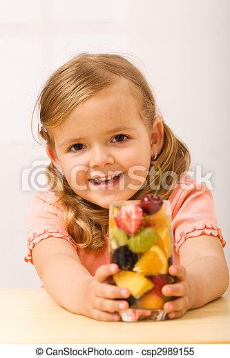 peu, heureux, girl, rafraîchissement, fruité - csp2989155