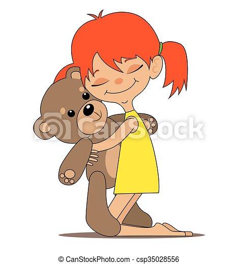 peu, jouet, girl, ours - csp35028556
