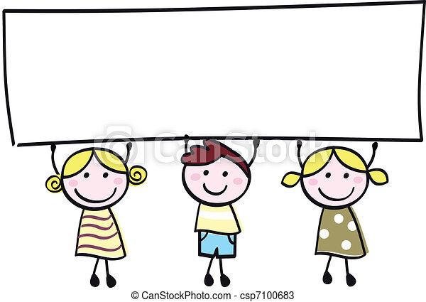 peu, tenue, bannière, heureux, vide, mignon, -, garçon, filles, vide, dessin animé, illustration. - csp7100683