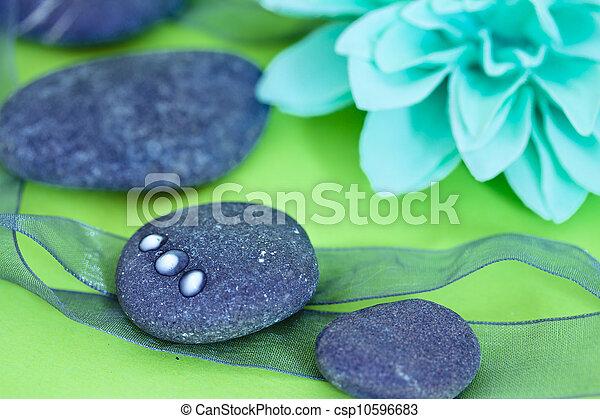 pierres, wellness/beauty, spa, fleurs, représenter, soin - csp10596683