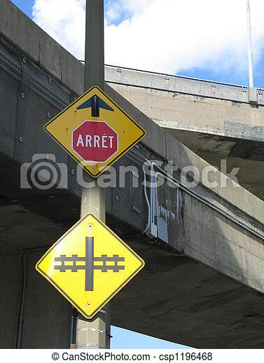 piste, arrêt, train, signe - csp1196468