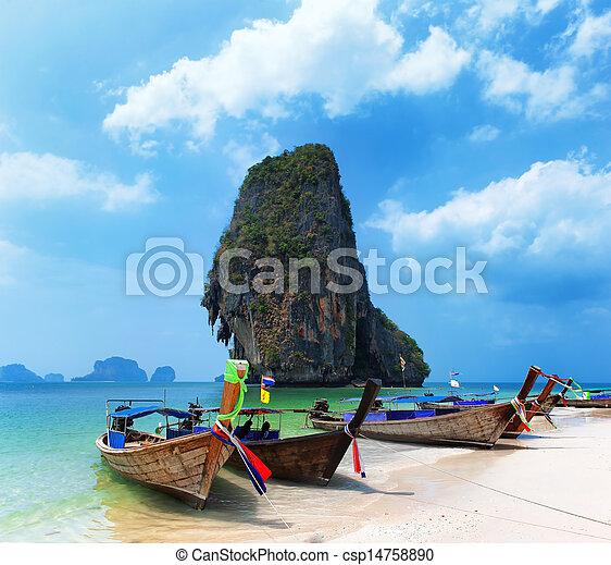 plage., île, voyage, asie, côte, exotique, bateau, fond, thaïlande, paysage - csp14758890