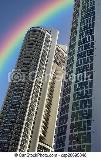 plage, sud, élévation élevée, condominium - csp20695848