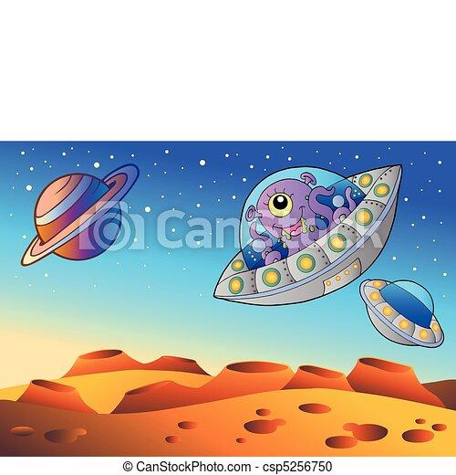 planète, voler, rouges, soucoupes - csp5256750