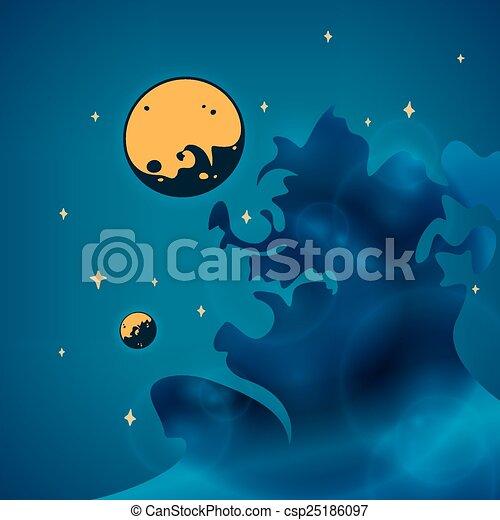 planètes, nébuleuse, espace, illustration, vecteur, étoiles - csp25186097