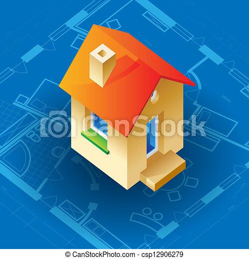 plan, maison, concept - csp12906279