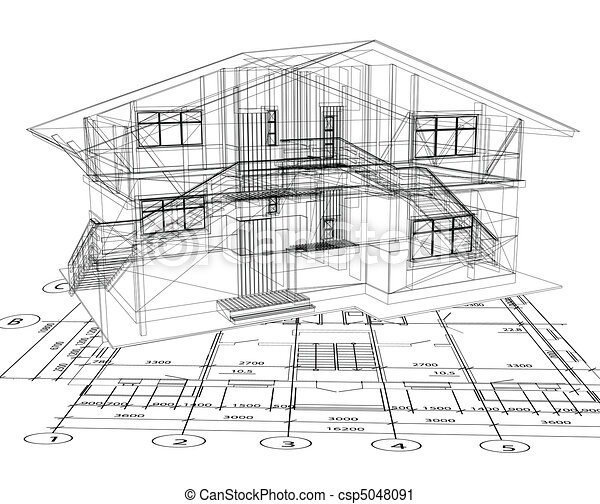 plan, vecteur, house., architecture - csp5048091