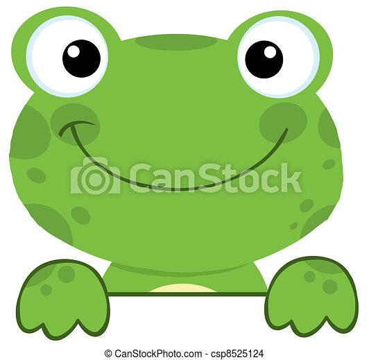 planche, signe, sur, grenouille, sourire - csp8525124