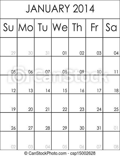 planificateur, costumizable, janvier, eps, fichier, grand, 2014, calendrier - csp15002628
