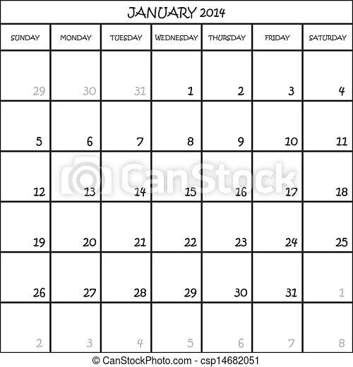 planificateur, janvier, mois, fond, 2014, calendrier, transparent - csp14682051