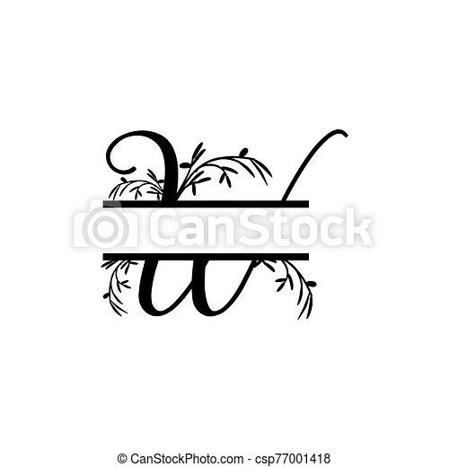 plante, initiale, vecteur, monogram, fente, lettre, décoratif, w - csp77001418