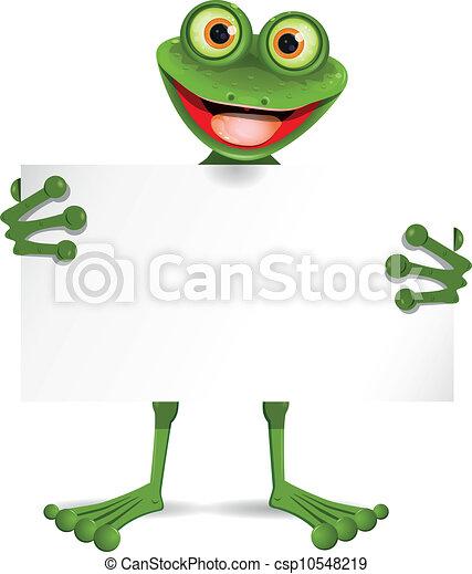 plaque, blanc, grenouille - csp10548219
